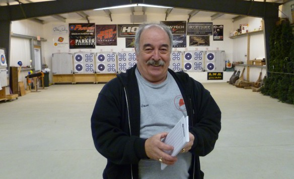 Steve Dunsmoor owner of Lakeside Archery, scorecards in hand and ready for the upcoming shoot.