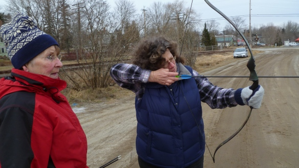 "Sue Dyer watches as Susan Brown takes a shot at the ""giant smelt"""